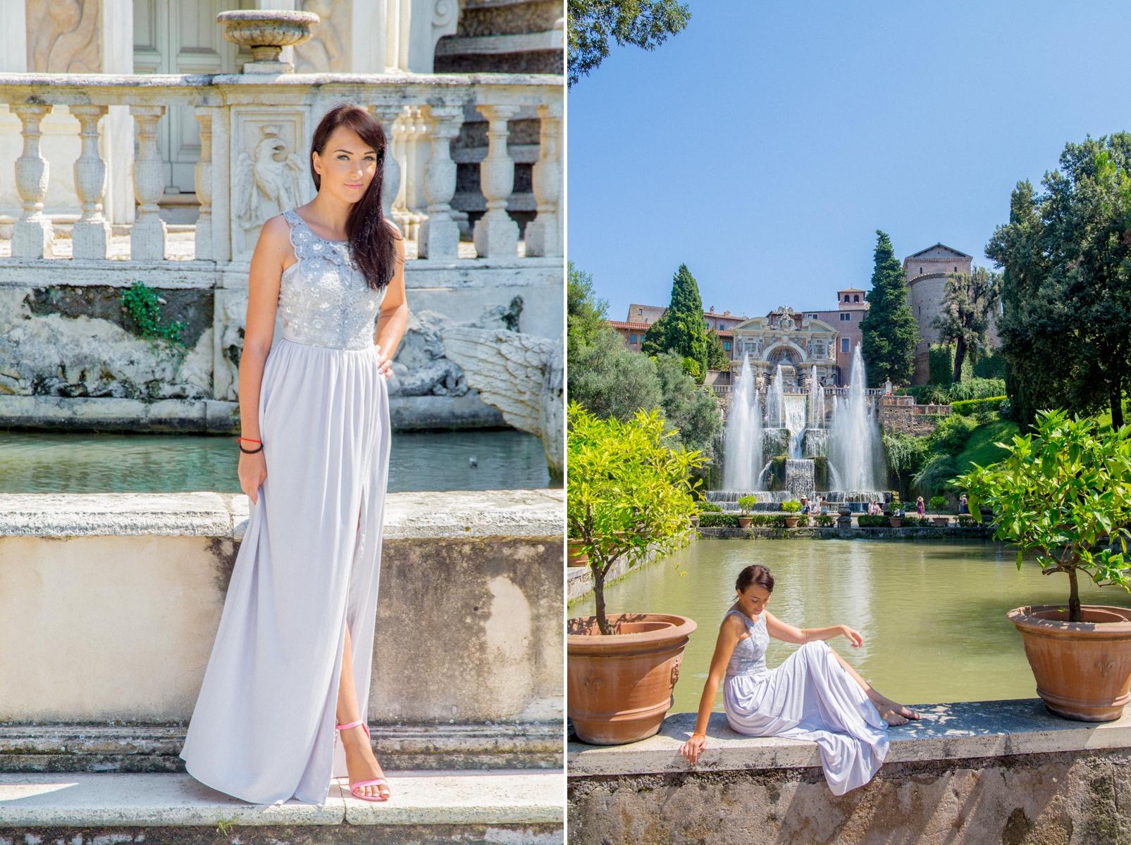 szara sukienka maxi na wesele