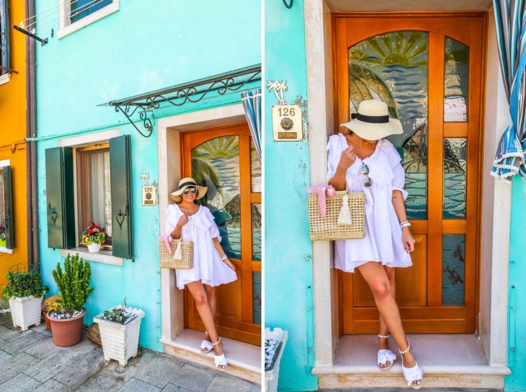 stylizacja z białą letnią sukienką