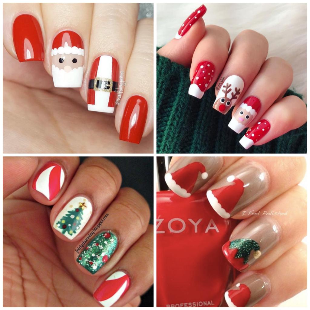 Czerwone świąteczne paznokcie