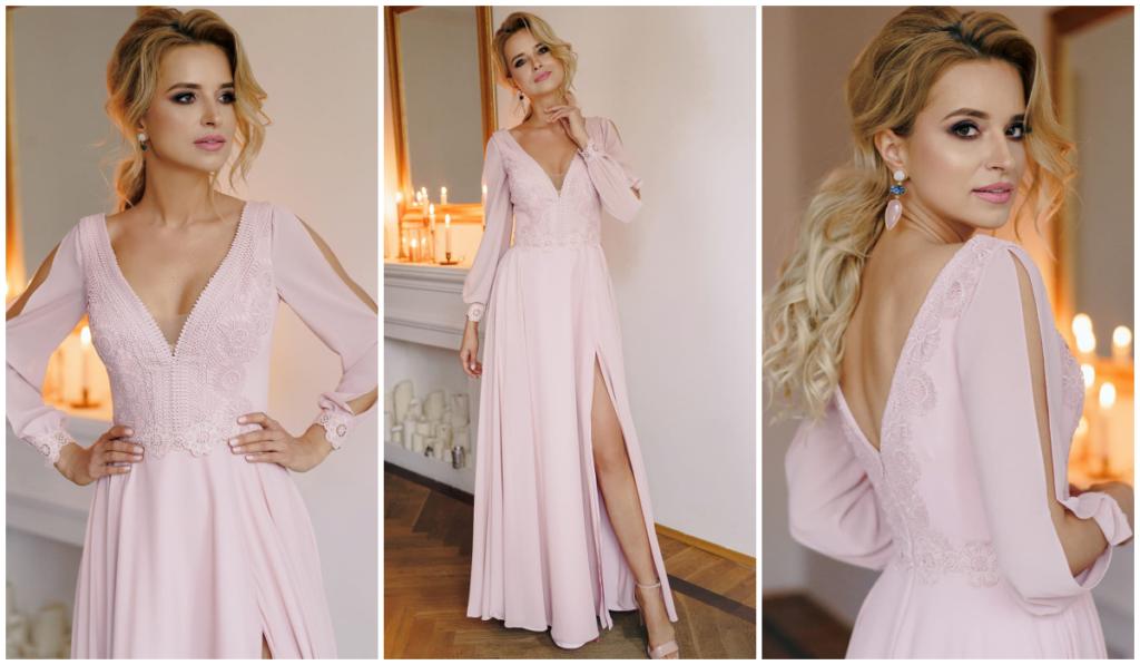 sukienka jasny róż maxi dress