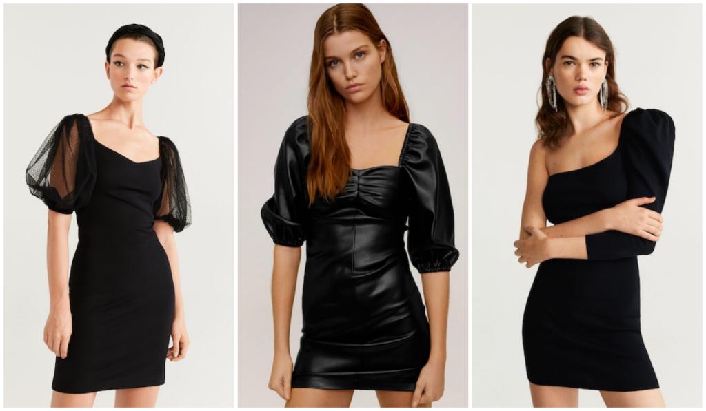 czarne sukienki z bufkami