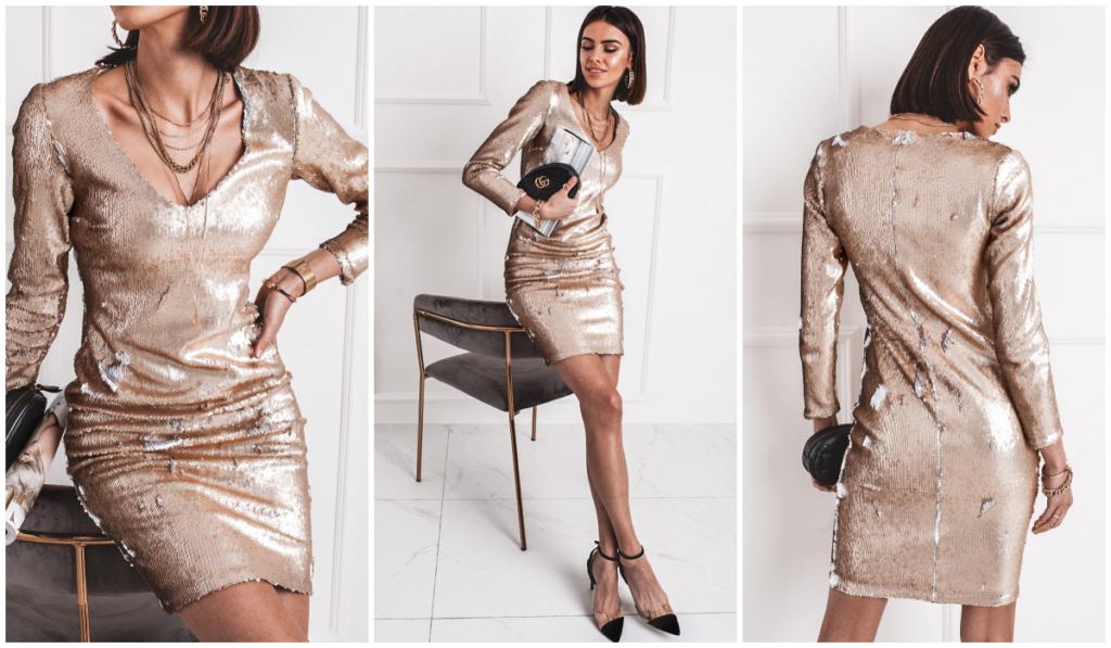 złota sukienka cekinowa