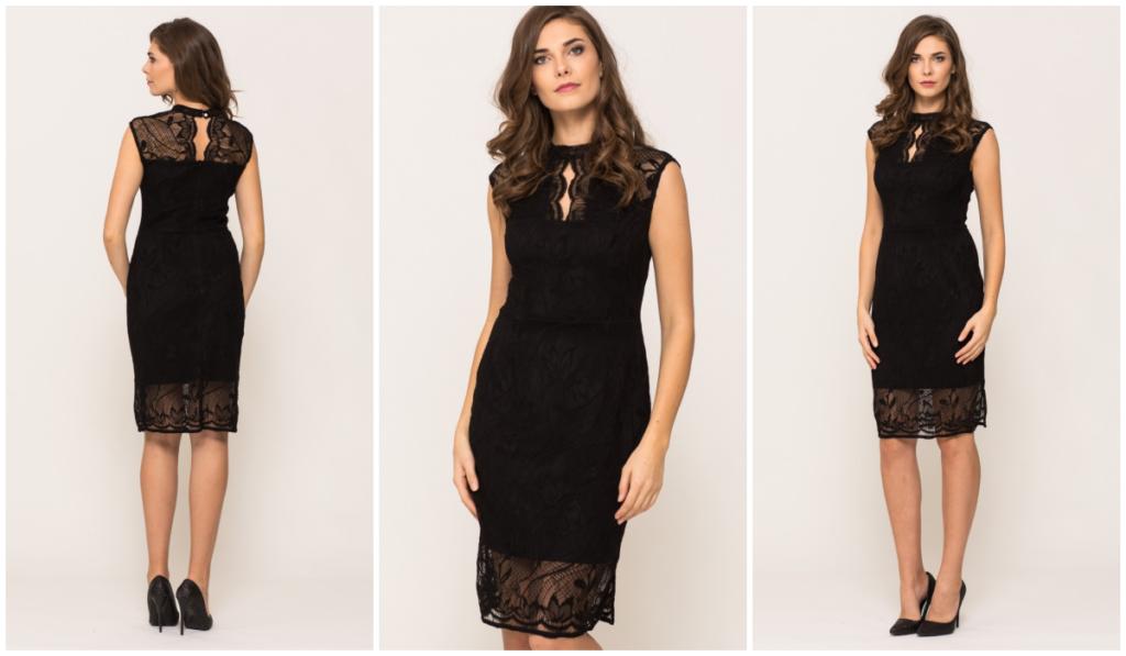 czarna elegancka sukienka dla starszej kobiety