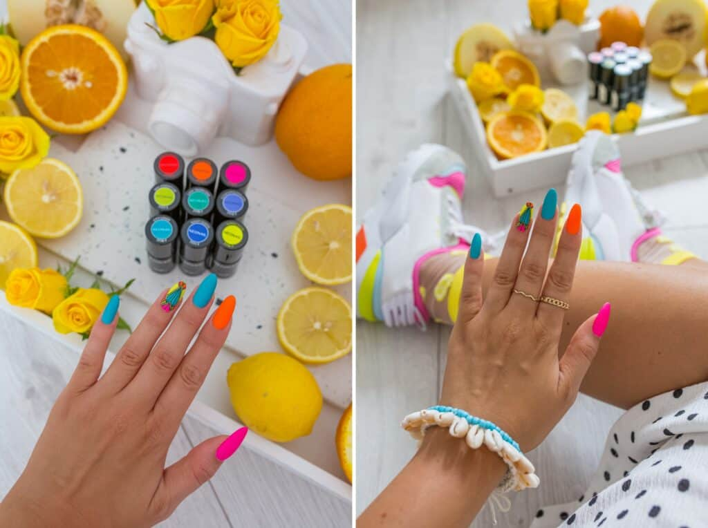 azteckie wzory manicure
