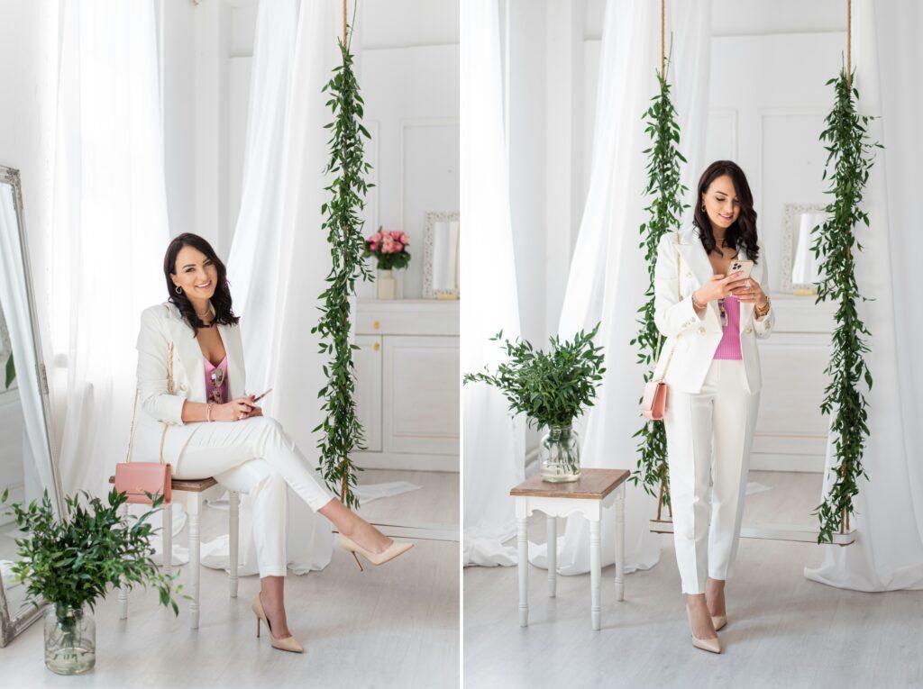 biały garnitur w stylizacji